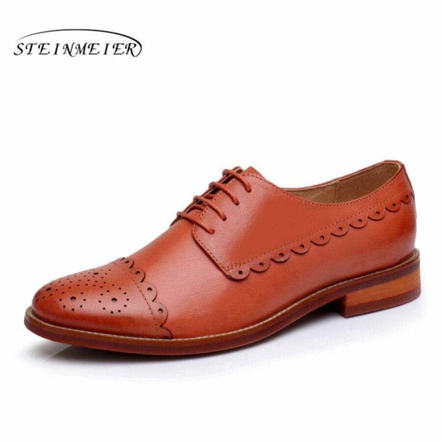 Yinzo 여성 플랫 옥스포드 신발 여성 정품 가죽 스 니 커 즈 숙 녀 brogues 빈티지 캐주얼 신발 신발 여성 신발-에서여성용 플랫부터 신발 의  그룹 1