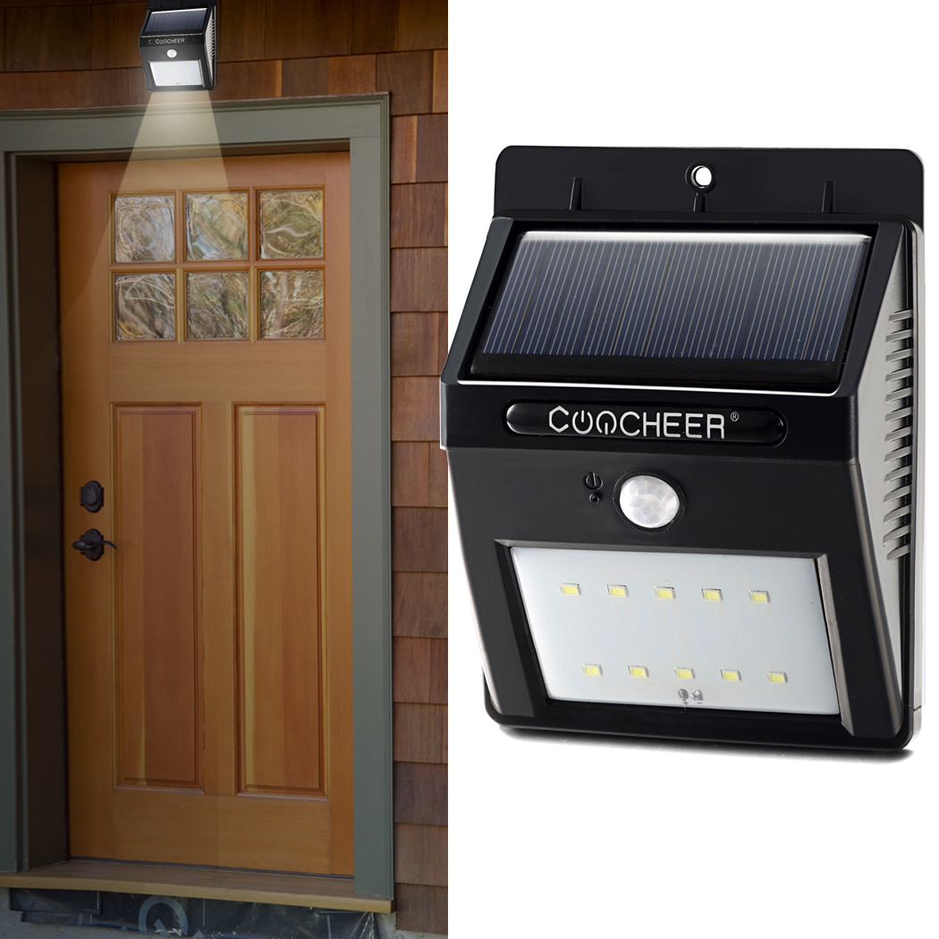 Coocheer Solar Powered Light 6 LED Motion Sensor Light Weatherproof Security Lighting Outdoor Wall Garden Lamp Wireless hot waterproof led solar light 46 led outdoor wireless solar powered motion sensor solar lamp wall lamp security lights