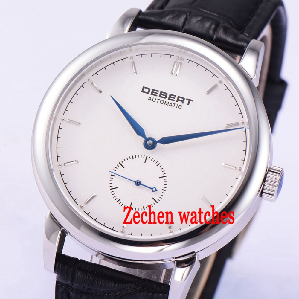 Debert 40mm Sapphire Glass 5ATM Seagull 1731 Automatic Mechanical white dial Men Watch цена и фото