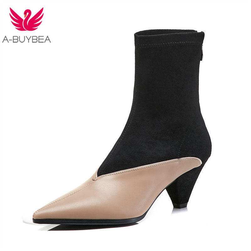 Real Leather & Suede Women Boots Pointed Toe Ankle Boots High Heel Ladies Shoes Handmade Zipper 6cm Strange Heels Women Shoes