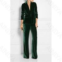 New Stylish Slim Pants Women Suits Business Suits Office Suits Work Wear 2 Piece Sets Ladies Velvet Pants Green Dark Suits