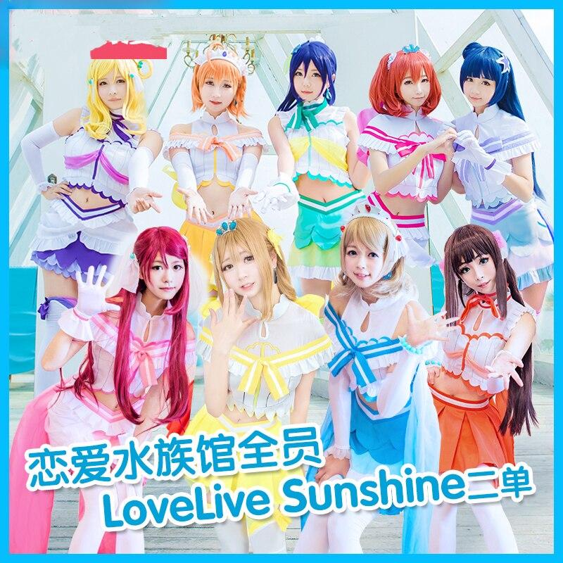 2018 nouvelle mode d'été amour en direct! Soleil!! Aqours Koibininaritai AQUARIUM tous les membres uniformes Costume de Cosplay