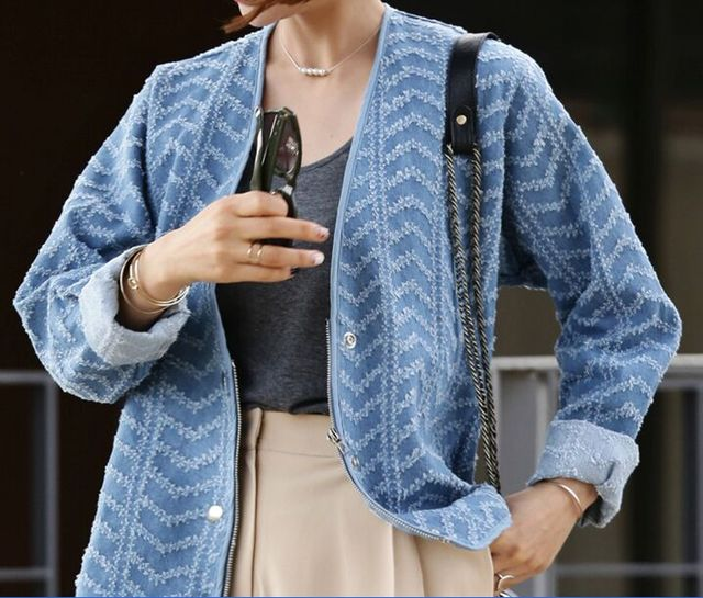 Основные Джинсовая Куртка Мода Длинным Рукавом Куртки V-образным Вырезом Куртки Женщин Slim Пальто Feminino chaquetas mujer Темно-Синий