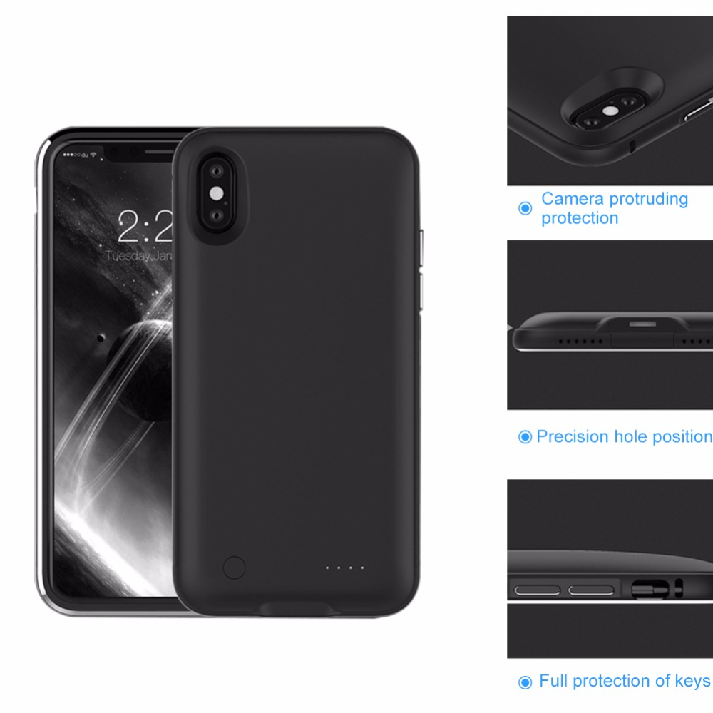 Metal Frame Portable Charging Case For iphone X 5000mAh Battery Power Bank for iphone X Battery Charger Case for iPhone 10