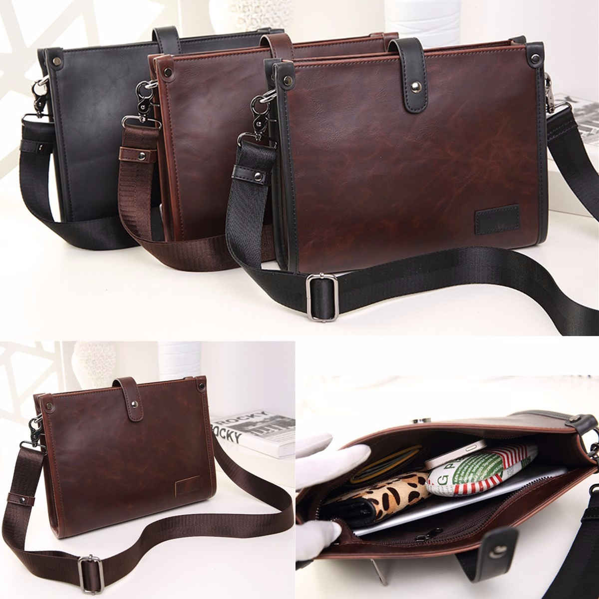 Men's Leather Business Briefcase Handbag Messenger Shoulder Crossbody Bag Satchel Messenger Bag Business Bags Male New