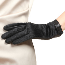 Goatskin Genuine Leather Glove Fashion Top Wrist Fur Bowknots  Women Thicken Winter Solid Sheepskin Glove Velvet Lining L152NC-5
