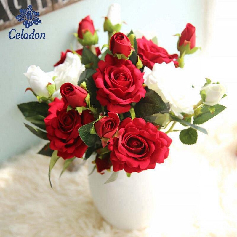 ¡La mejor calidad de la promoción 2017! Rosa flor Artificial boda decoración flor Nuevo Hogar artículos al por mayor Rosas artificiales amantes de la flor del Día de San Valentín cristal Rosa regalos de boda pequeño regalo fiesta festiva suministros flores
