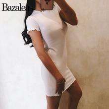 Летние женские эластичные трикотажные платья Тощий плиссированные Круглая горловина с коротким рукавом Bodycon Платья для женщин