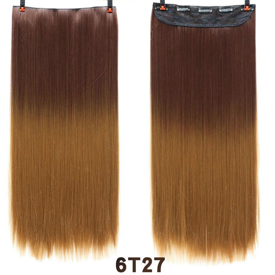 SHANGKE волосы 24 ''длинные прямые женские волосы на заколках для наращивания черный коричневый высокая температура Синтетические волосы кусок - Цвет: 1B/Серый