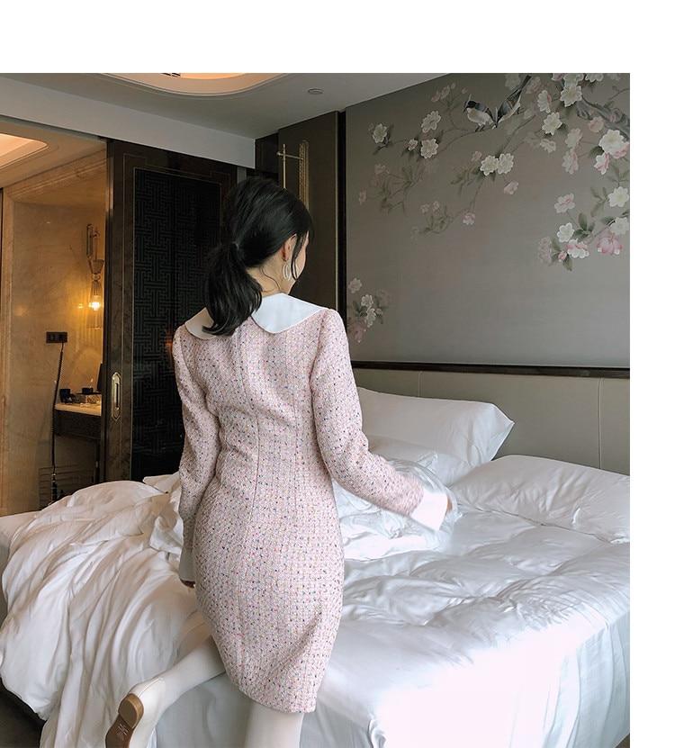 2809 Pan Mini Wang 2018 Ww Col Whitney Contraste Automne Couleurs Tweed Robe Hiver Womenoffice Élégante Peter Mode Dame 7TxAqAzw5F