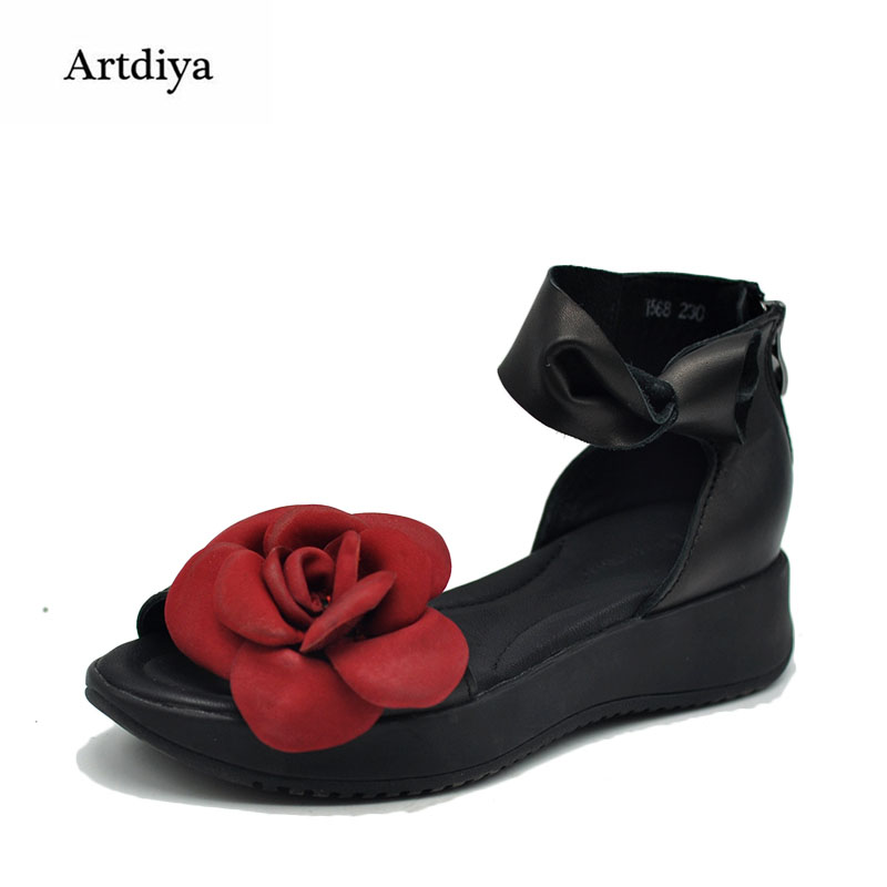 Здесь продается  Artdiya Original New 2018 Summer Vintage Women Sandals Female Flower Thick Sole Platform Genuine Leather Handmade Shoes1568  Обувь