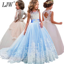 fe2c256cbe0a4 Fille enfants robe de mariée blanc première sainte Communion formelle  longue sans manches dentelle princesse fête robe de bal po.