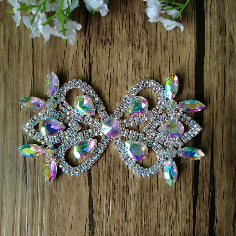 Free Shipping 12pcs lot 4 Crystal AB Rhinestone Applique Bridal Sash Rhinestone Patch Apparel Buckle LSAP014