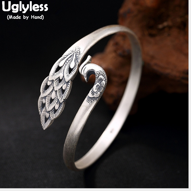 Uglyless Real S 999 Fine Silver Bangles Women Vintage Pheonix Bangle Elegant Lady Ethnic Peacock Jewelry Handmade Floral BijouxUglyless Real S 999 Fine Silver Bangles Women Vintage Pheonix Bangle Elegant Lady Ethnic Peacock Jewelry Handmade Floral Bijoux