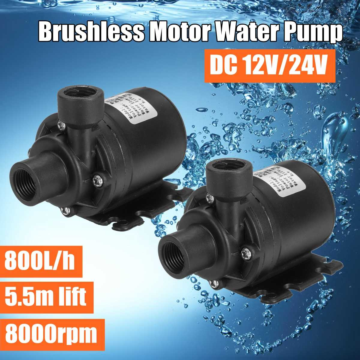 ZYW680 800L/h Mini DC 12V 24V 19W Water Pump 8000rpm 5.5m Lift Brushless Motor Ultra Quiet Submersible Pump For Cooling System