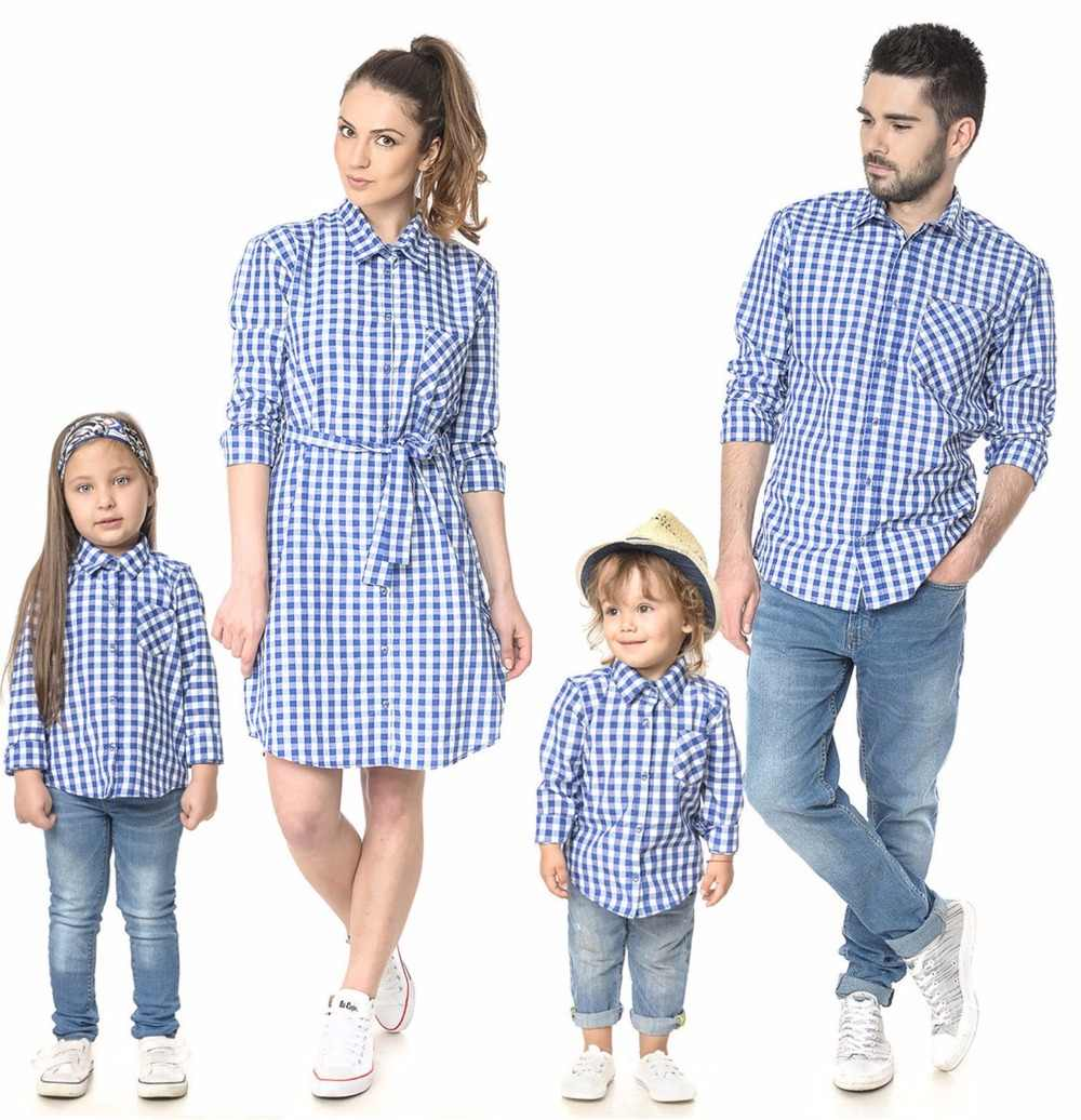 02081af7b48dd plaid family matching outfits look father mother daughter son clothes mom  baby dresses clothing family look