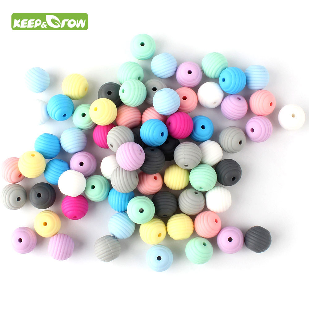 KEEP&GROW 25Pcs Round Spiral Silicone Beads 15mm Food Grade Screw Thread Beads DIY Jewelry Making Teething Toys Baby Products