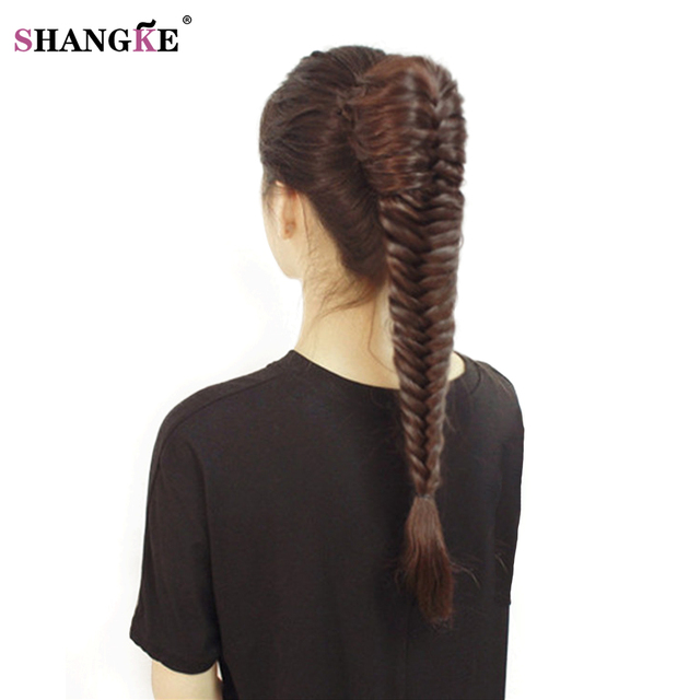 Shangke Long Straight Fishtail Braids Ponytail Clip In Plaited Rope