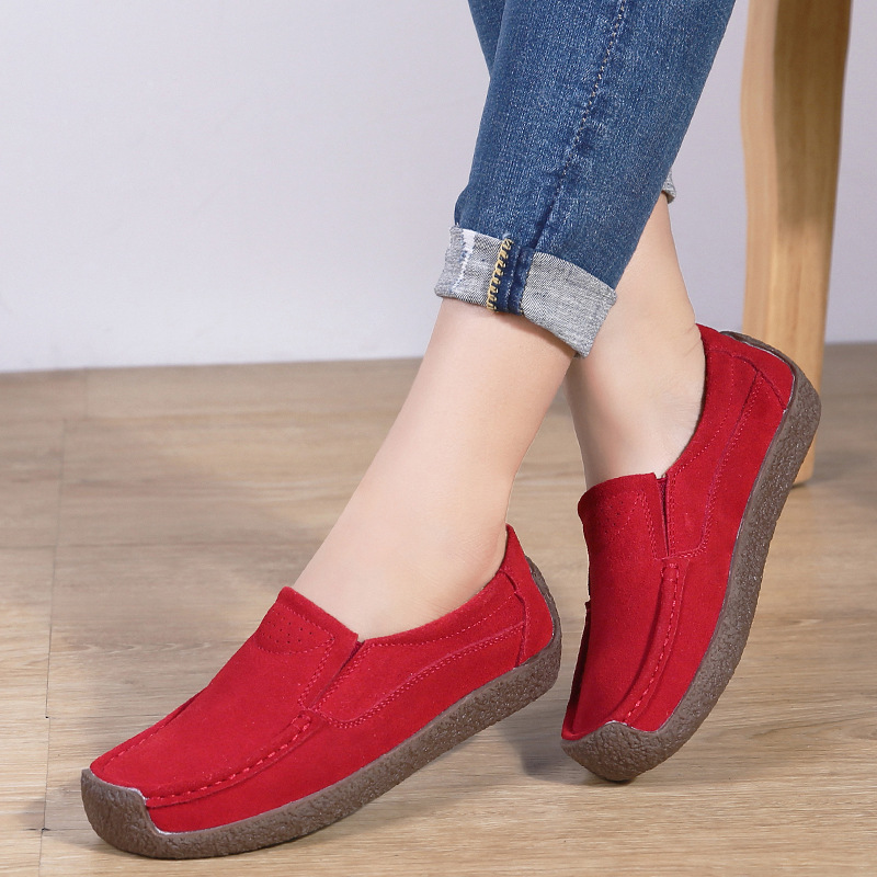 zapatos Spring Autumn Women Moccasins Women's Flats Genuine   leather   Shoes Woman Lady Loafers Slip On   Suede   Shoes mocasines