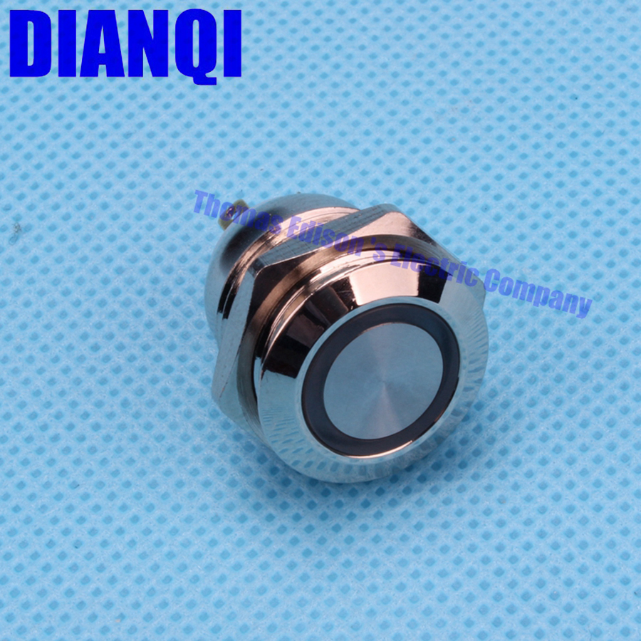 16mm Metal brass Push Button Switch illumination ring Momentary 1NO Car press button pin terminal 3V 5V 12V red blue 16HX,F.K4 3 terminal short push plunger momentary micro switch 15a 250vac 1no 1nc