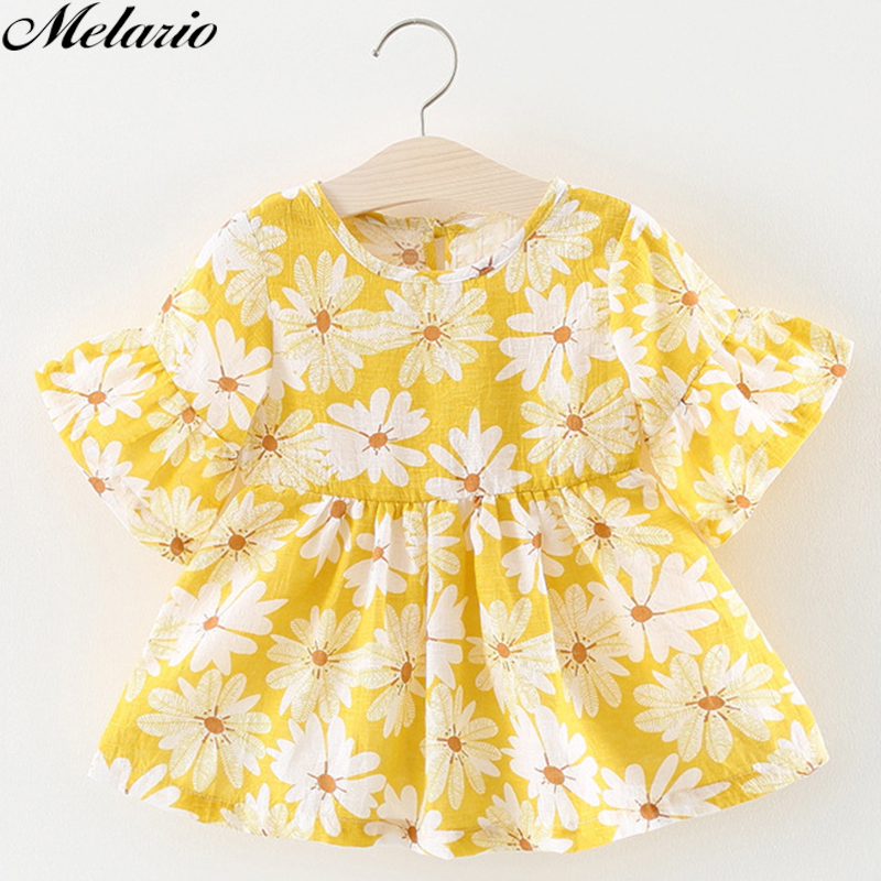 Melario Baby Girls Dress 2018 New Summer Clothing Brand Design Flower Printing Dress Girls baby clothing Cotton Party Dress