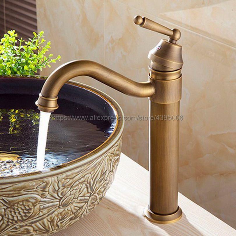 Antique Brass Basin Faucet Swivel Spout Bathroom Kitchen Faucet Vessel Sink Mixer Tap Deck Mounted Bnf215 solid brass antique brass bathroom basin faucet swivel spout wall mounted mixer
