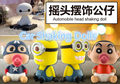 Car Style Robot Head Shaking Toy Car Ornament Decoration Boxed PVC Action Figure Toy Baymax Minions Crayon Shin-chan Free Ship