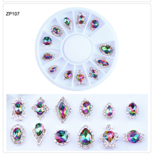 1Wheel X12 Styles Holo Nail Art charm Crystal Rhinestone Alloy AB Trend Metal New Charm Decorations