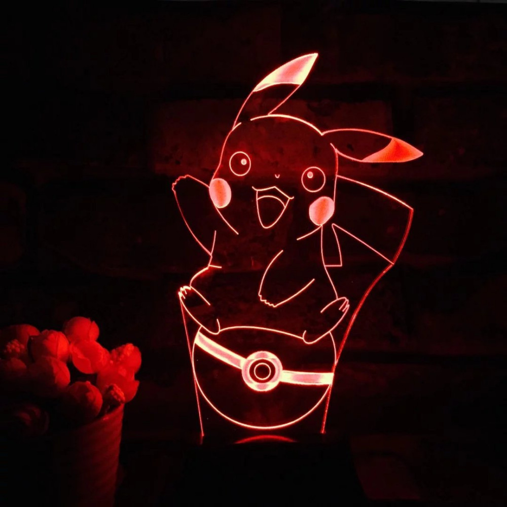 LED Sleep Kid Light Decoration for home Pikachu 3D 7 Color Lamp Pokemon Go Action Figure LED Holiday Christmas Gifts Night Light погружной дренажный насос skil 0805ra f0150805ra