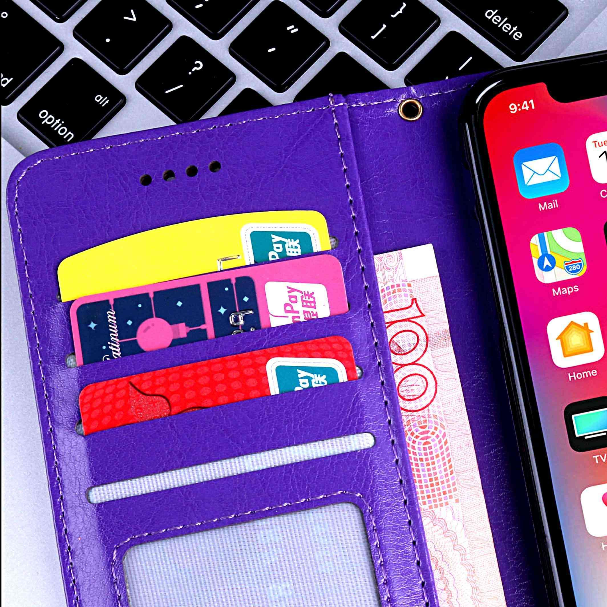 2019 新華為 Psmart Psmart + 財布ケースとカードポケットキックスタンドハイインパクト品質 3 色ダイヤモンド光沢のある電話ケース