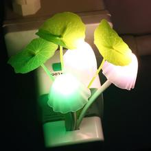 2 Pieces European Plug Romantic Colorful LED Mushroom Night Light DreamBed Lamp Home Illumination #KF