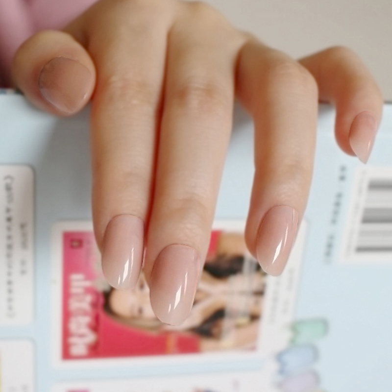 Artificial Oval Fake Nails Clear Plastic Soft Pink False Nails Candy Short Nail Tips 24Pcs/ Set P01Q