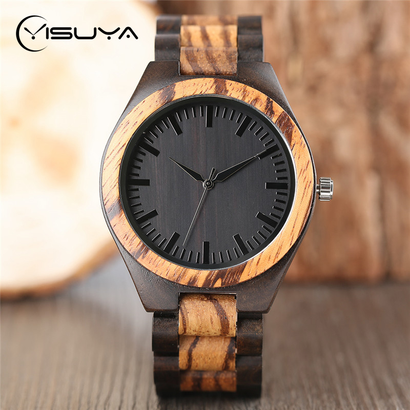 цены YISUYA Luxury Wooden Watches for Men Vintage Analog Quartz Handmade Walnut Zebra Bamboo Wood Band Wristwatch Clock Gifts Reloj