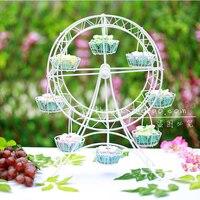 Black White Gold Ferris Wheel Cake Rack 8 Cups Cake Tree Display Wedding Party Decoration Cupcakes