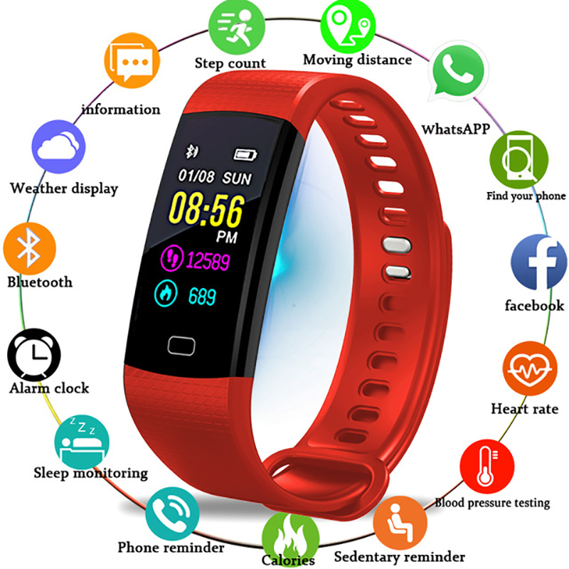 BANGWEI <font><b>Smart</b></font> <font><b>Waterproof</b></font> Sports <font><b>Watch</b></font> <font><b>Men</b></font> And Women Sleep Reminder Heart Rate Detection Pedometer USB Charger + BOX image