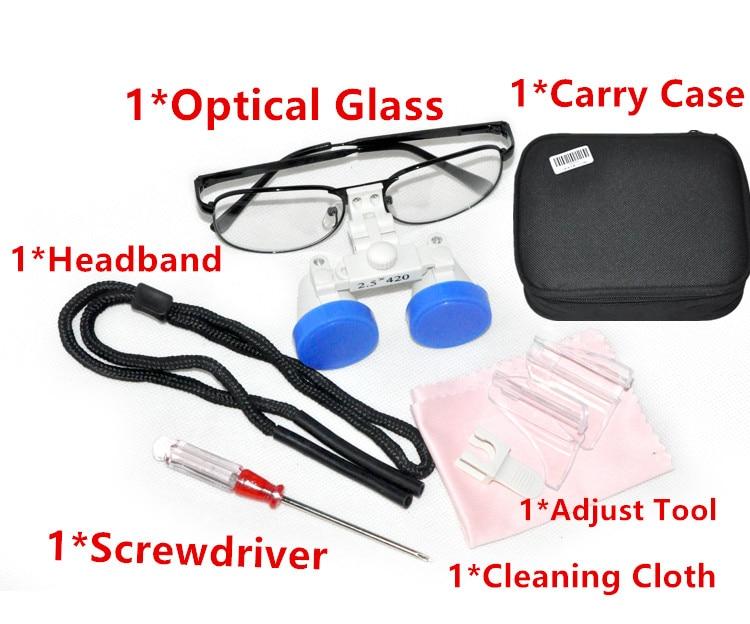 Black Frame Dental Magnifier Dentist Dental Surgical Medical Binocular Loupes 2.5X 420mm Optical Glass Loupe  цены