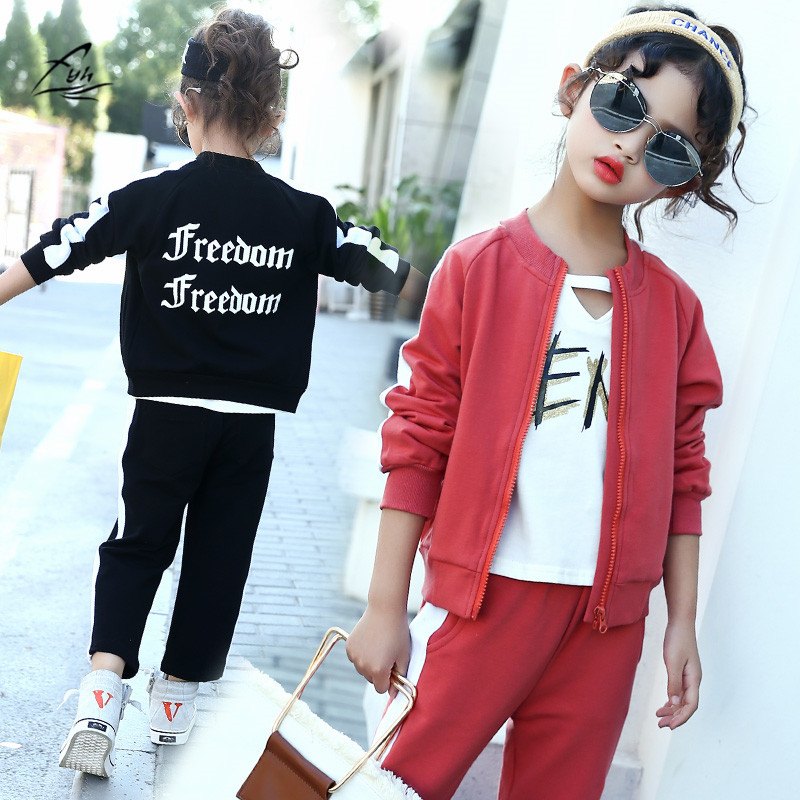 FYH Kids Clothes Girls Track Suit School Girls Autumn Spring Cotton Clothing Set Children Long Sleeve O-neck Sweatshirt+Pants fyh boys long sleeve sports set school boys casual printed suit hooded sweatshirt pants kids autumn clothes children tracksuit