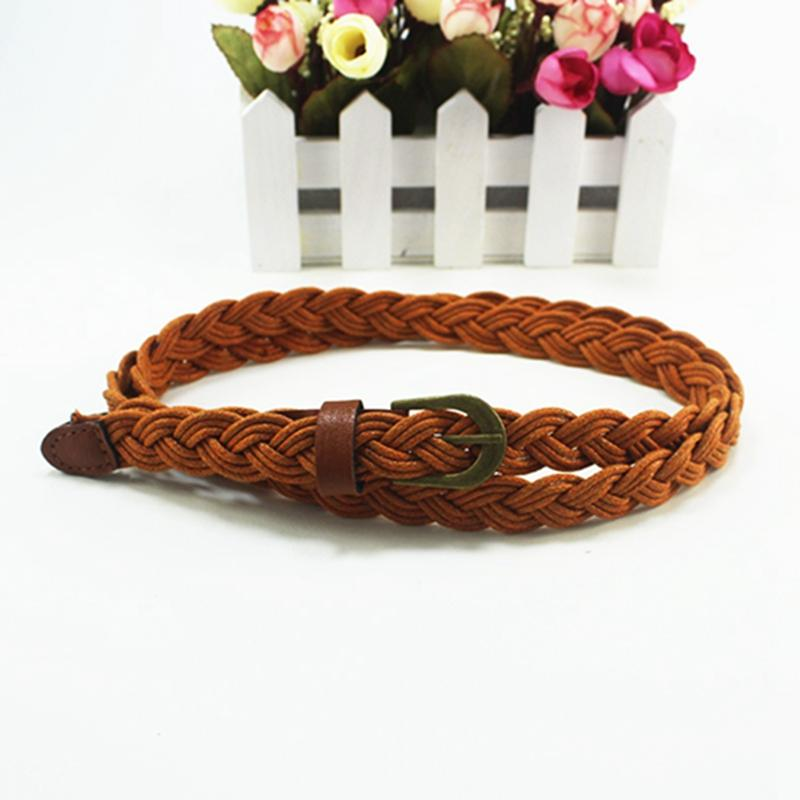 New Fashion Womens Belt Brief Knitted Candy Colors Hamp Rope Braid Belt Female Belt For Dress High Quality Ceinture Femme