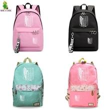 Attack on Titan Black Bagpacks Floral Printing Backpacks Travel Backpack Hot Anime School Bag for Teenage Girls Laptop Mochilas цены онлайн