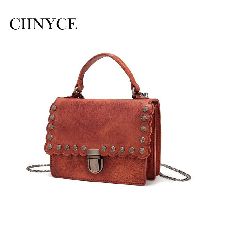 Здесь можно купить  Genuine Leather Women Handbag New Vintage Rivets Shoulder Natural Cow Skin Femal Mini Totes Crossbody Saddle Messenger Bags  Камера и Сумки