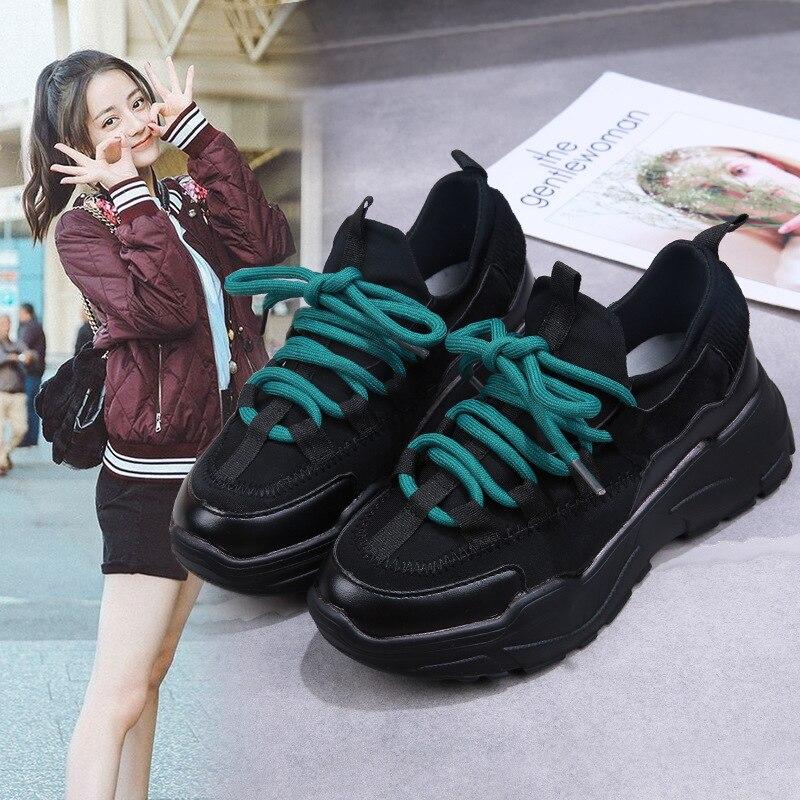 Sport Style 2019 Harajuku Loisirs College Étudiants Papa De Chaussures Universitaire Dames Rue School noir Décontracté Et Beige Nouvelles wvtrStqY