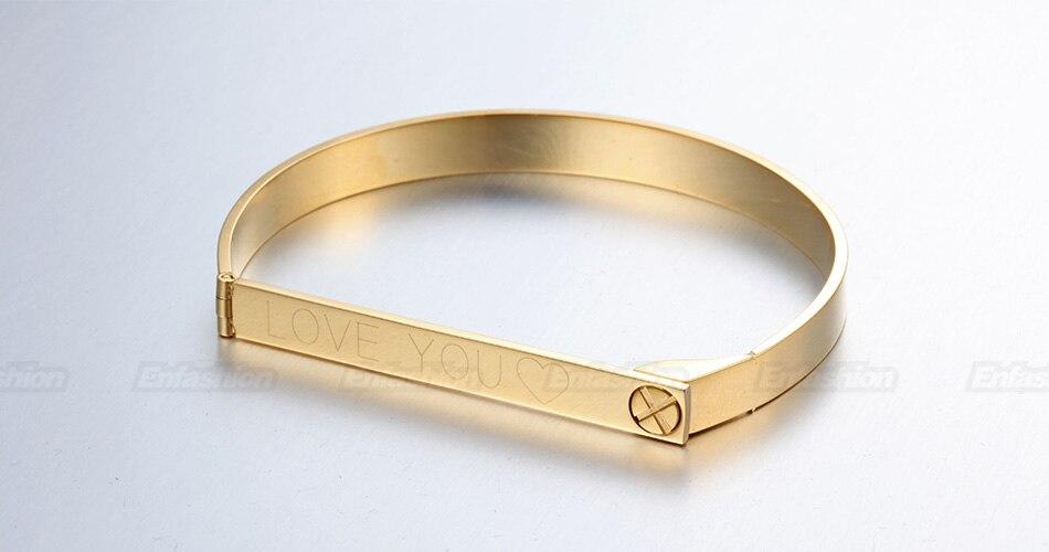Enfashion Personalized Engraved Name Bracelet Gold Color Bar Screw Bangle Lovers Bracelets For Women Men Cuff Bracelets Bangles 19