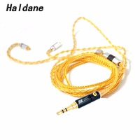 Free Shipping Haldane 1.2m 8cores SE846 SE535 SE315 SE215 UE900 Headphone Replacement Audio Cable for DIY Headphone cable(Gold)