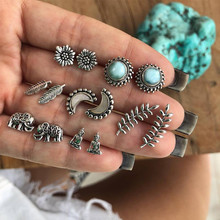 12 styles  Bohemian Opals Elephant moon Stud Earring Set Ancient silver Earrings Women girl Fashion Party Jewelry Gifts