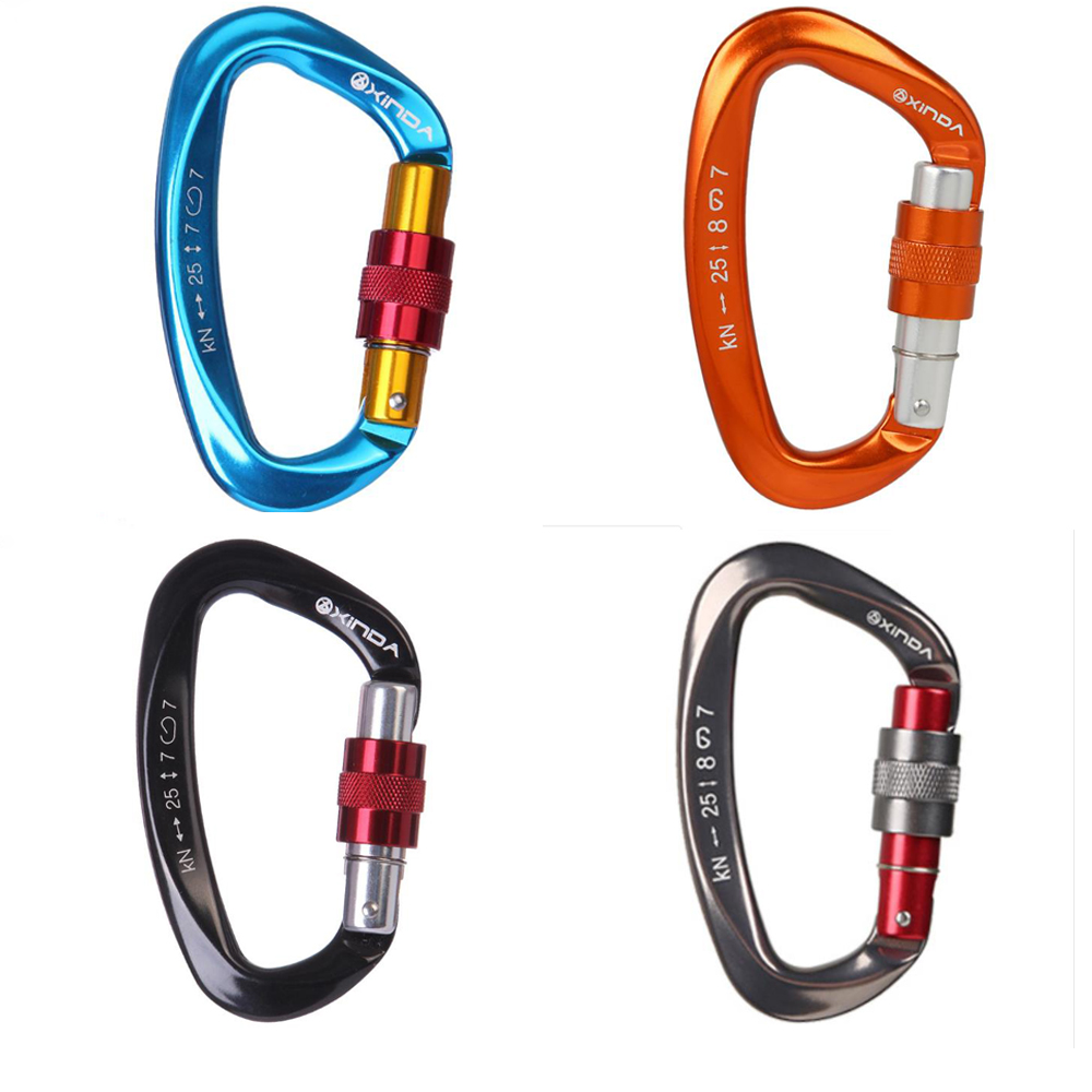 XINDA 25KN Mountaineering Caving Rock Climbing Carabiner D Shaped Safety Master Screw Lock Buckle Escalade Equipement
