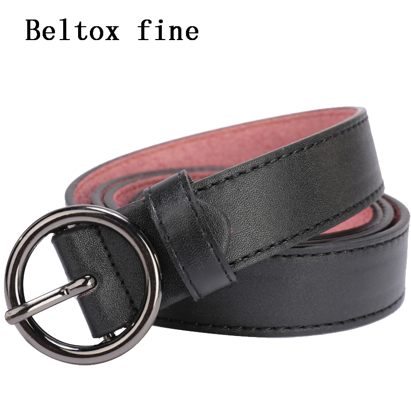 Round Metal Circle Belts Women's Solid Stitched Belt 26-48'' Inch Alloy Buckle Designer Brand Punk O Ring Belt For Women