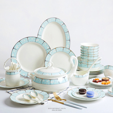 60 pieces of bone china tableware, dining bowls, ,plates, household combination suits,.High temperature resistance Korean style