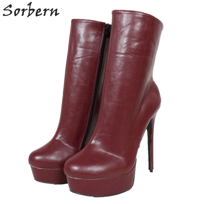 Sorbern Deep Red Ankle Boots Thin High
