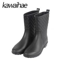 Круглый носок дождь женский Ботинки Для женщин Ботинки Сапоги на резиновой подошве Водонепроницаемый до середины икры брендовые Kawaihae 913