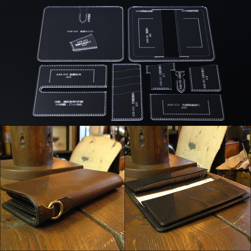 1 Set Acrylic Template Leather Sewing Pattern DIY Making Long Wallet Lady Clutch Purse Leather Craft Tools 19*9*2cm